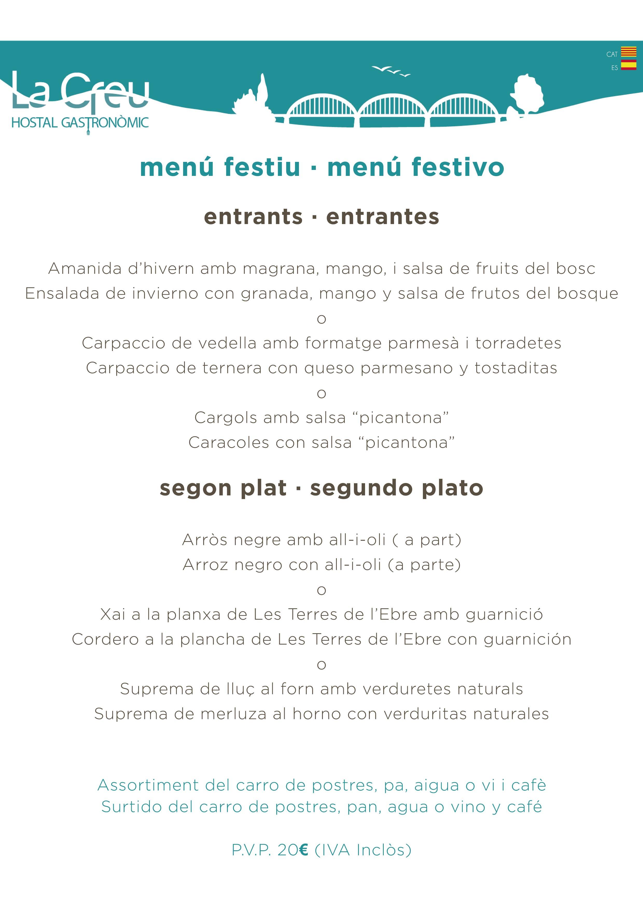 menu restaurant la creu mora ebre